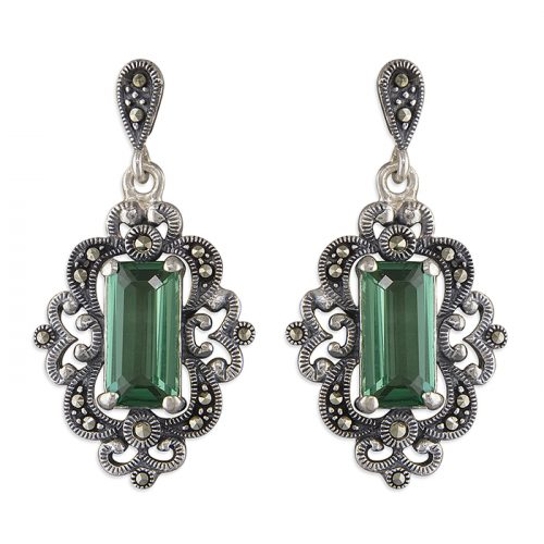 Silver Green Quartz Earring