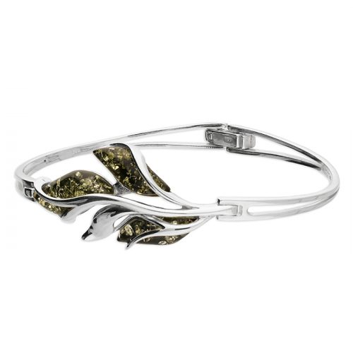 Green amber fancy leaf silver bangle